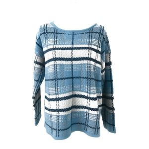 J. Jill French Blue Heather Plaid Jacquard Sweater